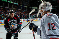 KELOWNA, CANADA - SEPTEMBER 24: Rodney Southam #17 of the Kelowna Rockets gets in the face of Scott Mahovlich #12 of the Kamloops Blazers  on September 24, 2016 at Prospera Place in Kelowna, British Columbia, Canada.  (Photo by Marissa Baecker/Shoot the Breeze)  *** Local Caption *** Rodney Southam; Scott Mahovlich;
