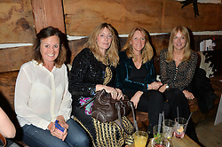 Left to right, CHARLOTTE DUTHIE, LEONIE GIBBS, SUSIE BROCKBANK and ROSANNA DICKINSON at a party in honour of the Walking With The Wounded team members held at Bodo's Schloss, 2A Kensington High Street, London on 13th November 2013.