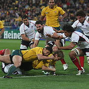 Drew Mitchell, Australia, goes over for try helped by team mate Anthony Fainga'a during the Australia V USA, Pool C match during the IRB Rugby World Cup tournament. Wellington Stadium, Wellington, New Zealand, 23rd September 2011. Photo Tim Clayton...