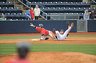 Ole Miss' Cameron Dishon (14) is safe at third vs. Lipscomb's Austin Sistrunk at Oxford-University Stadium in Oxford, Miss. on Sunday, March 10, 2013. Ole Miss won 9-8. The Rebels improve to 16-1.