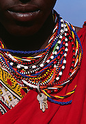 Image of a young male Masai Mara warrior wearing traditional clothes, Masai Mara National Reserve, Kenya, Africa, model released by Randy Wells