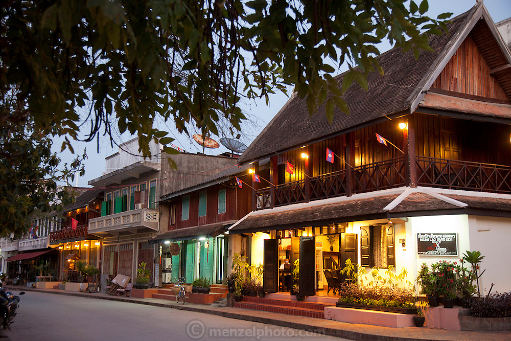 Luang Prabang, Laos. guest houses facing the Mekong River.