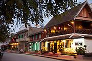 Luang Prabang, Laos. guest houses facing the Mekong River.