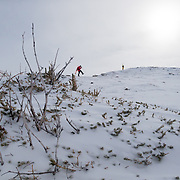 Andrew Whiteford and Kim Havell hike towards the goods in the Teton backcountry near Jackson Hole Mountain Resort.