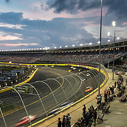 CONCORD, NC - MAY 19: Race fans look on from the new Turn 4 Sun Deck at the Charlotte Motor Speedway during the Monster Energy NASCAR All-Star Race in Concord, North Carolina on May 19, 2018.