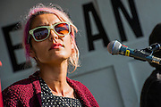 Warpaint do an accoustic set in the Greenpeace area. The 2014 Glastonbury Festival, Worthy Farm, Glastonbury. 28 June 2013.