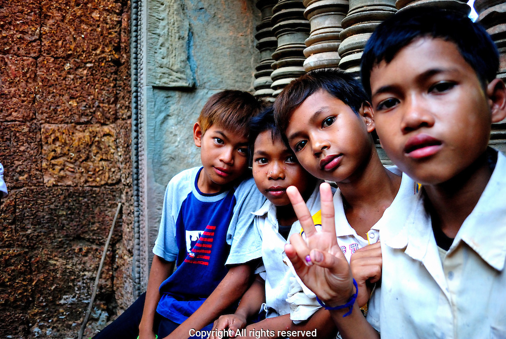 School children who mobbed me at an unknown ruin complex in Siem Reap