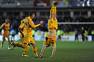 Newport's Conor Washington ©  celebrates  after he scores his sides 3rd goal. Johnstone's Paint Trophy Quarter Final (Southern Area)  match, Newport county v Portsmouth at Rodney Parade in Newport, South Wales on Tuesday 12th November 2013. pic by Andrew Orchard, Andrew Orchard sports photography,