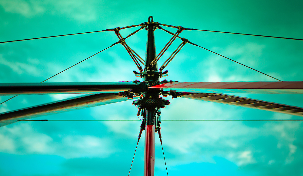The center mast, guy wires, and blades of the Pitcairn PA-18 Autogyro.  Created during AirVenture 2009, in Oshkosh, Wisconsin.