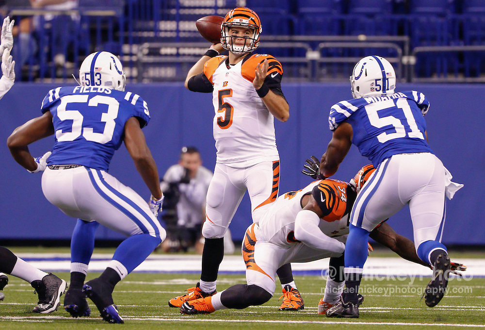 INDIANAPOLIS, IN - SEPTEMBER 3: AJ McCarron #5 of the Cincinnati Bengals passes the ball during the game against the Indianapolis Colts at Lucas Oil Stadium on September 3, 2015 in Indianapolis, Indiana. (Photo by Michael Hickey/Getty Images) *** Local Caption *** AJ McCarron