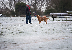 © Licensed to London News Pictures. 24/01/2021. London, UK. A woman walks her dog in freezing conditions at Hampstead in north London. Parts of the UK continue to suffer from flooding caused by Storm Christoph. Photo credit: Ben Cawthra/LNP