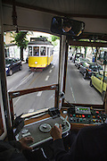 Tram 28 seen from the inside of another 28 liner