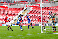 GOAL Reading forward Danielle Carter (18) scores to make it 2-0 during the FA Women's Super League match between Manchester United Women and Reading LFC at Leigh Sports Village, Leigh, United Kingdom on 7 February 2021.