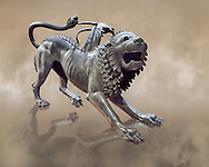 """Etruscan bronce statue of the mythical Chimera known as the  """"Chimera of Arezzo"""" from the St Lorentino Gate of Arezzo, made end of 5th - early 4th century B.C, inv no 1,  National Archaeological Museum Florence, Italy .<br /> <br /> If you prefer to buy from our ALAMY PHOTO LIBRARY  Collection visit : https://www.alamy.com/portfolio/paul-williams-funkystock - Scroll down and type - Etruscan Florence - into LOWER search box. (TIP - Refine search by adding a background colour as well).<br /> <br /> Visit our ETRUSCAN PHOTO COLLECTIONS for more photos to download or buy as wall art prints https://funkystock.photoshelter.com/gallery-collection/Pictures-Images-of-Etruscan-Historic-Sites-Art-Artefacts-Antiquities/C0000GgxRXWVMLyc"""