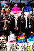 Coloured hats for sale, Otavalo Market , Ecuador, South America
