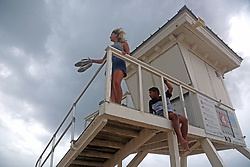 Zayra Carpio and Albert Mesa, 10, check out the weather from their perch on a lifeguard tower on on Fort Lauderdale Beach as Hurricane Irma pushes into South Florida on Saturday, September 9, 2017, in Fort Lauderdale, FL, USA. Photo by Amy Beth Bennett/Sun Sentinel/TNS/ABACAPRESS.COM