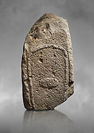 Late European Neolithic prehistoric Menhir standing stone with carvings on its face side. Excavated from Amassed VII, Allai.  Menhir Museum, Museo della Statuaria Prehistorica in Sardegna, Museum of Prehoistoric Sardinian Statues, Palazzo Aymerich, Laconi, Sardinia, Italy .<br /> <br /> Visit our PREHISTORIC PLACES PHOTO COLLECTIONS for more photos to download or buy as prints https://funkystock.photoshelter.com/gallery-collection/Prehistoric-Neolithic-Sites-Art-Artefacts-Pictures-Photos/C0000tfxw63zrUT4