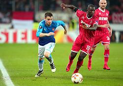 Mathieu Debuchy of Arsenal goes past Sehrou Guirassy of Cologne - Mandatory by-line: Robbie Stephenson/JMP - 23/11/2017 - FOOTBALL - RheinEnergieSTADION - Cologne,  - Cologne v Arsenal - UEFA Europa League Group H