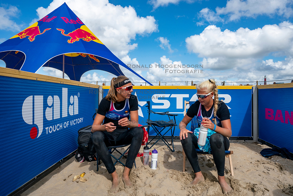 Katja Stam, Raïsa Schoon in action. The Final Day of the DELA NK Beach volleyball for men and women will be played in The Hague Beach Stadium on the beach of Scheveningen on 23 July 2020 in Zaandam.