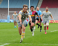 Rugby Union - 2020 / 2021 Gallagher Premiership - Round 18 - Harlequins vs Wasps - The Stoop<br /> <br /> Josh Bassett of Wasps runs over for his 2nd half try<br /> <br /> Credit : COLORSPORT/ANDRTEW COWIE