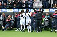 Renato Sanches of Swansea city (35) is replaced by Wilfried Bony of Swansea city late in the 2nd half. Premier league match, Swansea city v Newcastle Utd at the Liberty Stadium in Swansea, South Wales on Sunday 10th September 2017.<br /> pic by  Andrew Orchard, Andrew Orchard sports photography.