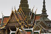 Roofs of the Prasat Phra Thep Bidon and Phra Viharn Yod, Bangkok, Thailand