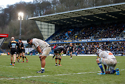 Castres Olympique replacement Paea Faanunu and Full Back Julien Dumora look dejected after Wasps score their 7th try of the game - Photo mandatory by-line: Rogan Thomson/JMP - 07966 386802 - 14/12/2014 - SPORT - RUGBY UNION - High Wycombe, England - Adams Park Stadium - Wasps v Castres Olympique - European Rugby Champions Cup Pool 2.