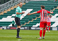 Sunderland Midfielder Lynden Gooch (11) appeals to official Referee  JAMES BELL    during the EFL Sky Bet League 1 match between Plymouth Argyle and Sunderland at Home Park, Plymouth, England on 1 May 2021.