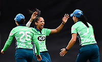 Cricket - 2021 Inaugural The Hundred: Women - The Eliminator -  Oval Invincibles vs Birmingham Phoenix - The Kia Oval - Friday 20th August 2021<br /> <br /> Oval Invincibles' Shabnim Ismail celebrates their 20 run victory.<br /> <br /> COLORSPORT/Ashley Western