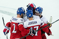 Players of Czech Republic celebrate after scoring fourth goal during Ice Hockey match between Finland and Czech Republic at Quarterfinals of 2015 IIHF World Championship, on May 14, 2015 in O2 Arena, Prague, Czech Republic. Photo by Vid Ponikvar / Sportida