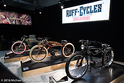 Ruff Cycles display of very cool pedal bikes in Hall 10 with its all custom focus at the Intermot Motorcycle Trade Fair. Cologne, Germany. Thursday October 6, 2016. Photography ©2016 Michael Lichter.