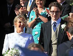 Newly married Ellie Goulding and Caspar Joplin leave York Minster after their wedding.