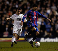 Photo: Jed Wee.<br /> Leeds United v Crystal Palace. Coca Cola Championship. 21/03/2006.<br /> <br /> Crystal Palace's Jobi McAnuff (R) attacks.