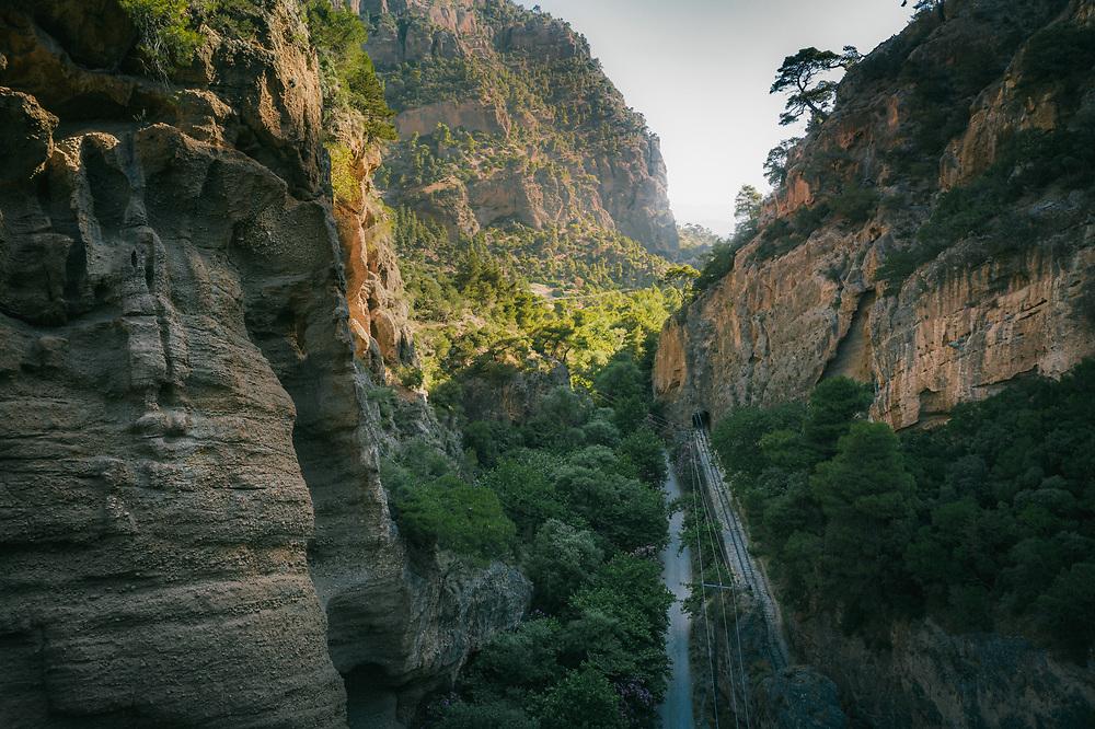 Odontotos track railway Diakopto – Kalavrita through the Vouraikos Gorge at the northern Peloponnese, Greece