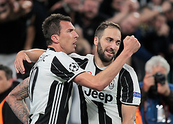 Mario Mandzukic and Gonzalo Higuain during Champions League Semi-finals match between Juventus v Monaco, in Turin, on may 9, 2017.(Photo by Loris Roselli/NurPhoto) *** Please Use Credit from Credit Field ***