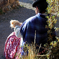 South America, Bolivia, Huatajata. Aymara Weaver of Bolivia.