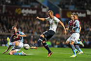 Tottenham's Harry Kane has a shot at goal blocked. Capital one cup 3rd round match, Aston Villa v Tottenham Hotspur at Villa Park in Birmingham on Tuesday 24th Sept 2013. pic by Andrew Orchard, Andrew Orchard sports photography.