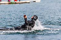 Norway, Stokkøya. Kayak rolling competition.