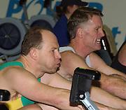 2004 British Indoor Rowing Championships. NIA. Birmingham. England. 21.11.2004.Cat M 45-49 Hwt. Ian McNuff [left Green kit] Walbrook RC and Patrick Gannon [Blue] Garda BC. [Mandatory Credit Peter Spurrier/ Intersport Images]