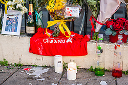 © Licensed to London News Pictures. 05/12/2019. Brighton, UK. Flowers can be seen at the location where 3 young man were hit by a car in Brighton in memory of 20 year old SUEL MIGUEL MONTEIRO DELGADO who passed away on Sunday from his injuries. Photo credit: Hugo Michiels/LNP