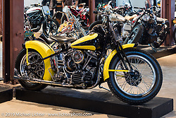 Harley-Davidson Panhead during Friday before the grand opening that evening of the Handbuilt Motorcycle Show. Austin, TX. April 10, 2015.  Photography ©2015 Michael Lichter.