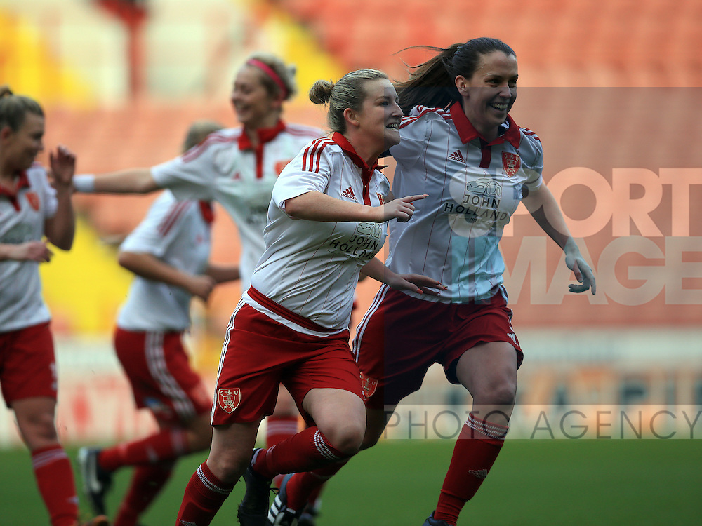 Sheffield United Ladies' Kimberley Brown (Left) celebrates after she scores her sides first goal during the FA Women's Cup First Round match at Bramall Lane Stadium, Sheffield. Picture date: December 4th, 2016. Pic Clint Hughes/Sportimage