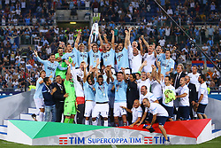 August 13, 2017 - Rome, Italy - Lazio team celebrating with the cup after winning the Italian SuperCup TIM football match Juventus vs Lazio on August 13, 2017 at the Olympic stadium in Rome. (Credit Image: © Matteo Ciambelli/NurPhoto via ZUMA Press)