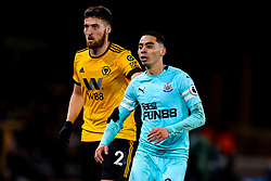 Miguel Almiron of Newcastle United is marked by Matt Doherty of Wolverhampton Wanderers - Mandatory by-line: Robbie Stephenson/JMP - 11/02/2019 - FOOTBALL - Molineux - Wolverhampton, England - Wolverhampton Wanderers v Newcastle United - Premier League