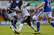 Fulham midfielder Neeskens Kebano (7) battles for possession sprints forward during the EFL Sky Bet Championship match between Ipswich Town and Fulham at Portman Road, Ipswich, England on 26 August 2017. Photo by Phil Chaplin.