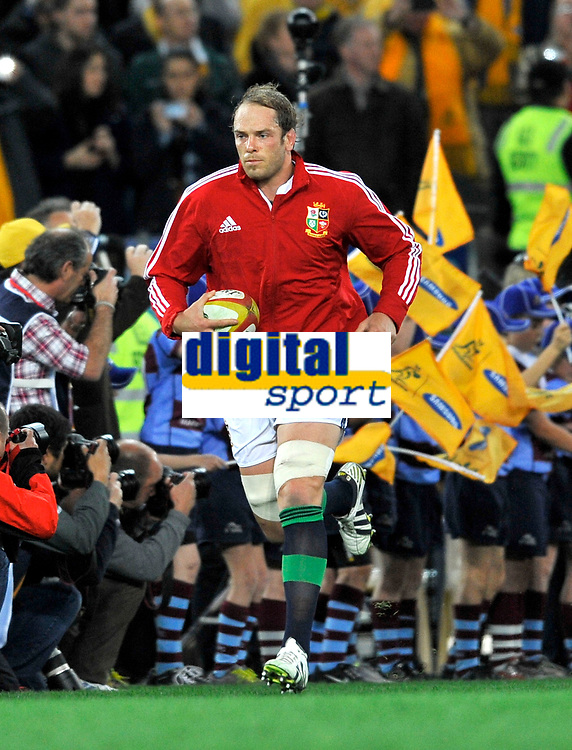 Rugby Union - 2013 British & Irish Lions Tour of Australia - Third Test.  Australia vs. British & Irish Lions<br /> <br />  Alun Wyn Jones of The British & Irish Lions leads the team out for the 3rd Test match between the Australian Wallabies and the British & Irish Lions at ANZ Stadium, on July 6, 2013 in Sydney, Australia.