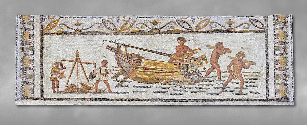 Late 4th century AD Roman mosaic depiction a harbour scene with men unloading and weighing goods. From Cathage, Tunisia.  The Bardo Museum, Tunis, Tunisia. Grey background .<br /> <br /> If you prefer to buy from our ALAMY PHOTO LIBRARY  Collection visit : https://www.alamy.com/portfolio/paul-williams-funkystock/roman-mosaic.html - Type -   Bardo    - into the LOWER SEARCH WITHIN GALLERY box. Refine search by adding background colour, place, museum etc<br /> <br /> Visit our ROMAN MOSAIC PHOTO COLLECTIONS for more photos to download  as wall art prints https://funkystock.photoshelter.com/gallery-collection/Roman-Mosaics-Art-Pictures-Images/C0000LcfNel7FpLI