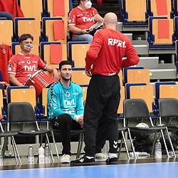 v.l. Ludwigshafens Martin Tomovski (Nr.12) und Ludwigshafens Skof Gorazd (Nr.16)  beim Spiel in der Handball Bundesliga, Die Eulen Ludwigshafen - HSG Nordhorn-Lingen.<br /> <br /> Foto © PIX-Sportfotos *** Foto ist honorarpflichtig! *** Auf Anfrage in hoeherer Qualitaet/Aufloesung. Belegexemplar erbeten. Veroeffentlichung ausschliesslich fuer journalistisch-publizistische Zwecke. For editorial use only.