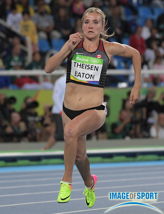 Aug 12, 2016; Rio de Janeiro, Brazil;  Brianne Theisen Eaton (CAN) competes in the women's heptathlon 200m event at Estadio Olimpico Joao Havelange in the Rio 2016 Summer Olympic Games.