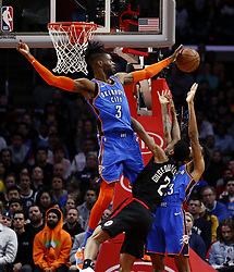 March 8, 2019 - Los Angeles, California, U.S - Oklahoma City Thunder's Nerlens Noel (3) blocks a shot by Los Angeles Clippers' Shai Gilgeous-Alexander (2) during an NBA basketball game between Los Angeles Clippers and Oklahoma City Thunder Friday, March 8, 2019, in Los Angeles. (Credit Image: © Ringo Chiu/ZUMA Wire)